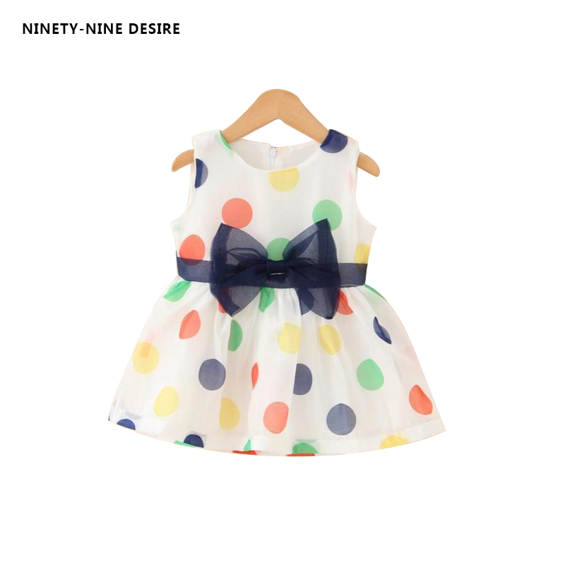 2018 Baby Girl Dress Summer Baby Bow Chiffon Dress Infant Sleeveless Dot Dress 1 Year Birthday Dress Baby Clothes Months