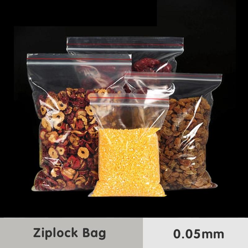 0,05mm-es Zip Lock Grip áttetsző műanyag csomagolózsákok Élelmiszer PE fokozatú snack Candy sütés Medical Self Sealing tároló csomag