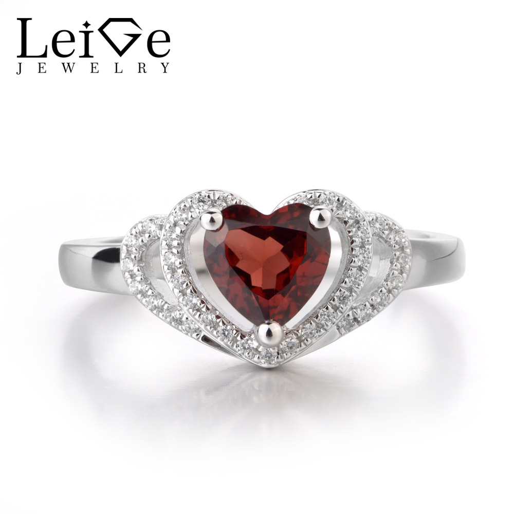Leige Jewelry Natural Red Garnet Ring Anniversary Gifts For Girls Heart Shape 1.13 carats Genuine Gemstone 925 Sterling SilverLeige Jewelry Natural Red Garnet Ring Anniversary Gifts For Girls Heart Shape 1.13 carats Genuine Gemstone 925 Sterling Silver