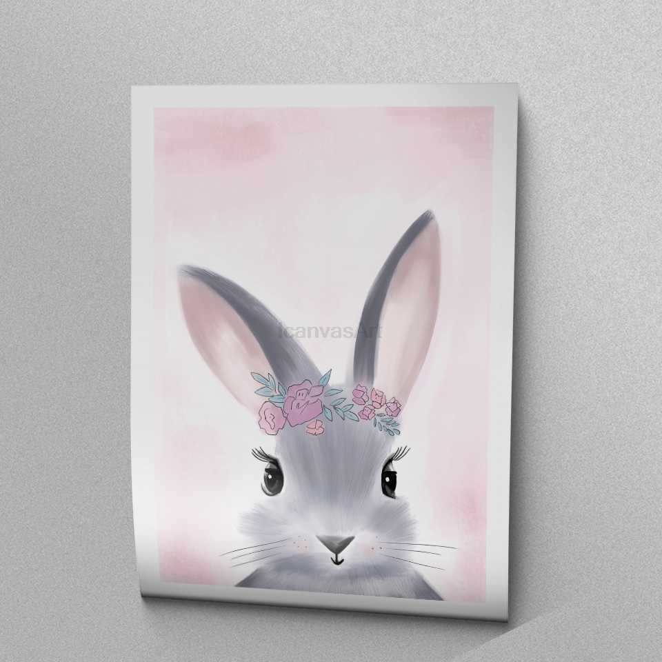 Watercolor pink princess paintings canvas bunny wall art poster birthday gifts nordic pictures for girls kids room home decor