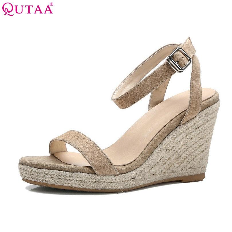 qutaa 2017 apricot women sandal wedge high heel slingback women shoes ankle strap peep toe white ladies wedding shoes size 34 39