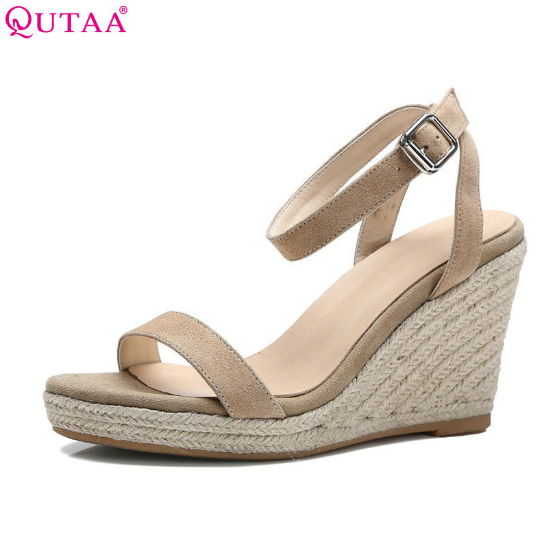 QUTAA 2018 Apricot Women Sandal Wedge High Heel Slingback Women Shoes Ankle Strap Peep Toe White Ladies Wedding Shoes Size 34-39 qplyxco 2017 big small size 32 46 peep toe ankle strap thick high heel sandals platform ladies shoes women sandal 2095 page 3