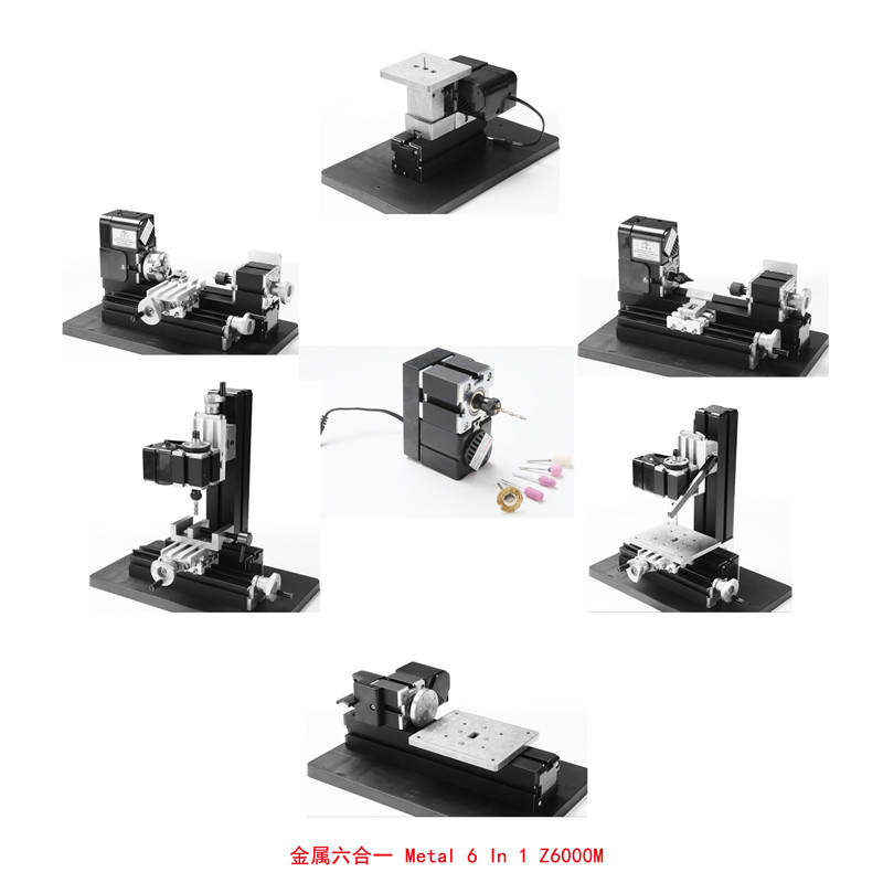 24W 6 in 1 All Metal Mini Lathe,Milling,Drilling ,Wood Turning,Jag Saw and Sanding Machine,DIY MINI Lathe Machine 6 in 1 mini lathe milling drilling wood turning jag saw