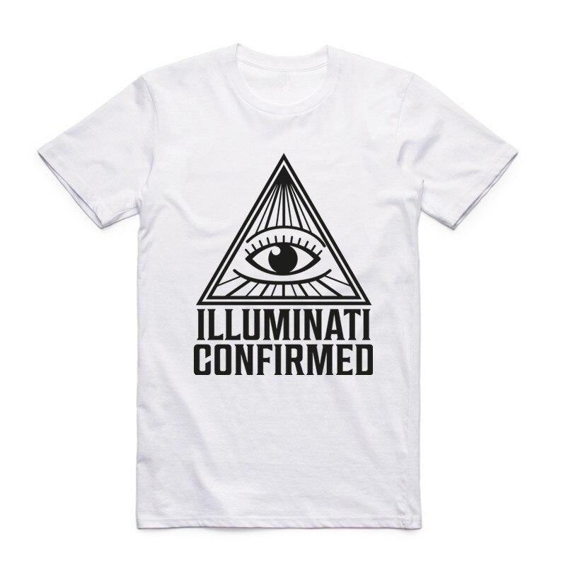 New Fashion Men Print Don't Trust Anyone Illuminati All Seeing Eyes T-shirt Short Sleeve O-Neck Summer Cool Top Tee T Shirt