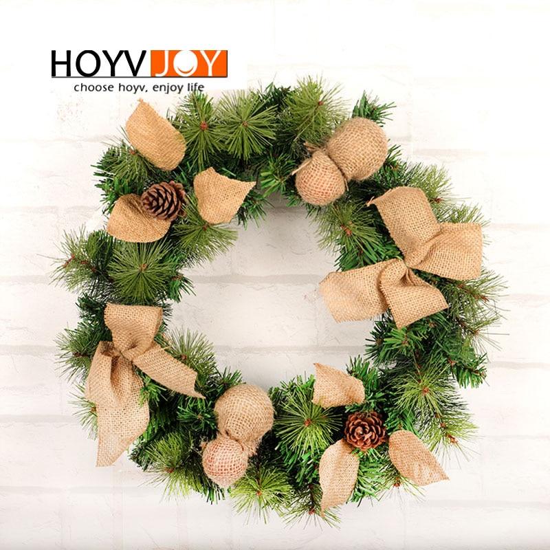hoyvjoy new burlap wreath wall door decoration 45cm artifical garland pine cone decor festival fall harvest in wreaths garlands from home garden on - Burlap Christmas Door Decorations