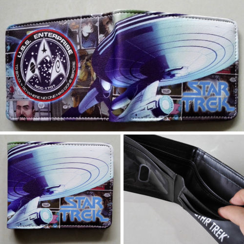 2018 Star Trek U.S.Ship Enterprise NCC Logo wallets Purse Multi-Color Leather W131 star trek enterprise spaceship action figure toys star trek beyond into darkness classic model 14 10cm