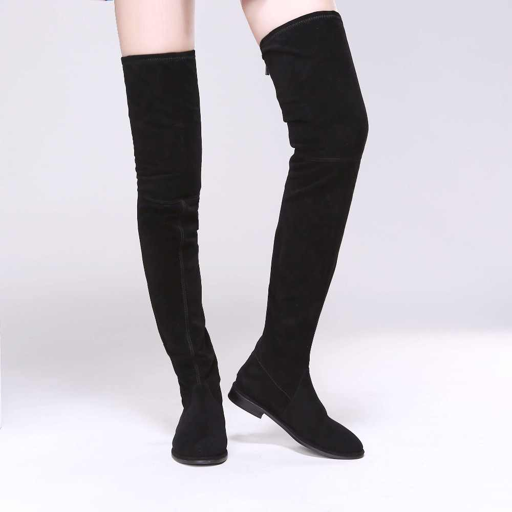 available uk store good selling Women Suede Slim Thigh High Boots Low Heels Over the Knee ...