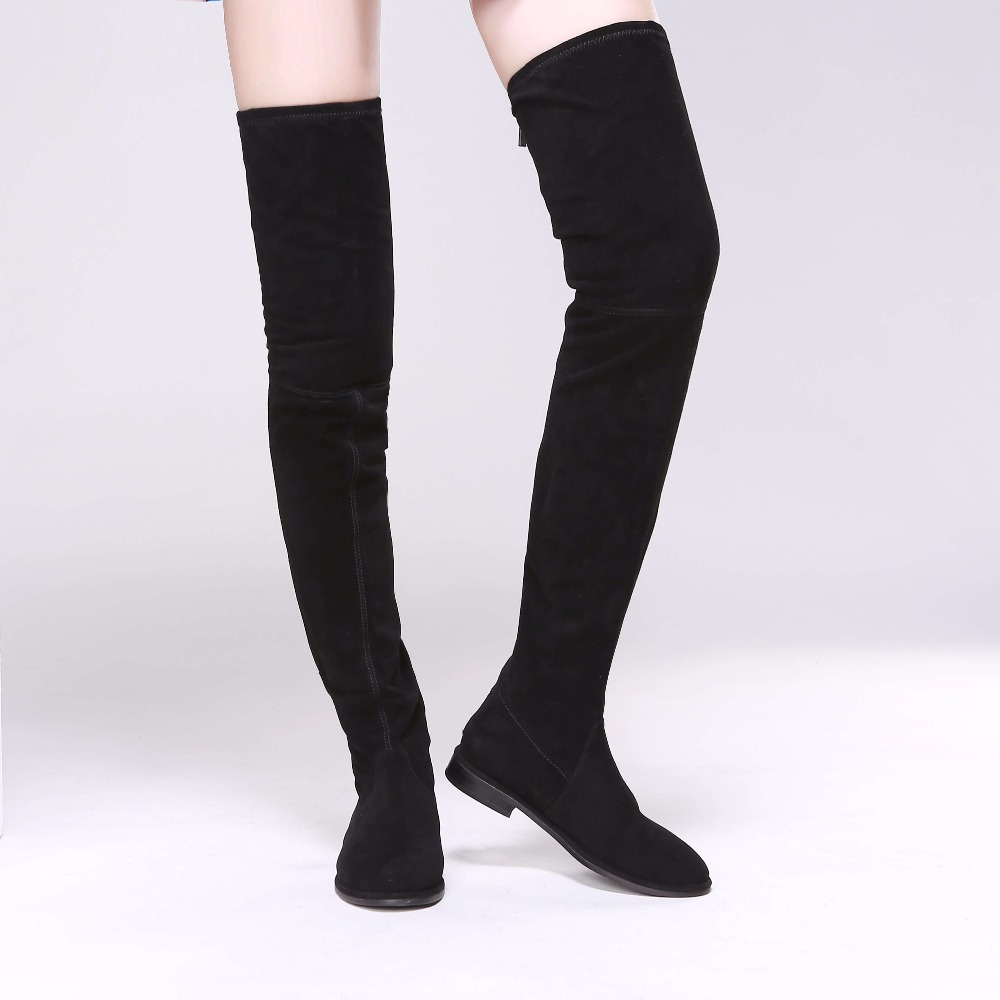 Women Suede Slim Thigh High Boots Low Heels Over the Knee Celebrity Shoes Zip on the Back Plus Size EU35-EU42