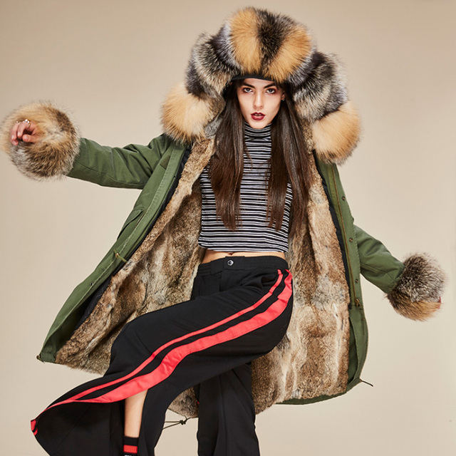 2214d124e481 2018 New Fashion Women s Luxurious Real Fox Fur Collar Hooded Coat Military  Parkas Warm Rabbit Lining Winter Army Green Jacket