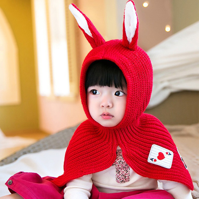 826fa4a6be6 Boys Girls Neck Warmer Baby Rabbit Ears Knitted Hat Infant Toddler Winter  Cap Beanie Warm Hat Hooded Scarf Earflap Knitted Hat