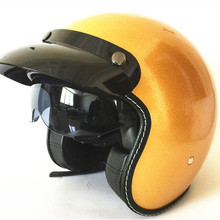 цена на Motorcycle Helmet Open Face with lens Moto Racing Casco Design Open Face 3/4 Motorcycle Helmet DOT Cafe Racer Retro Vintag