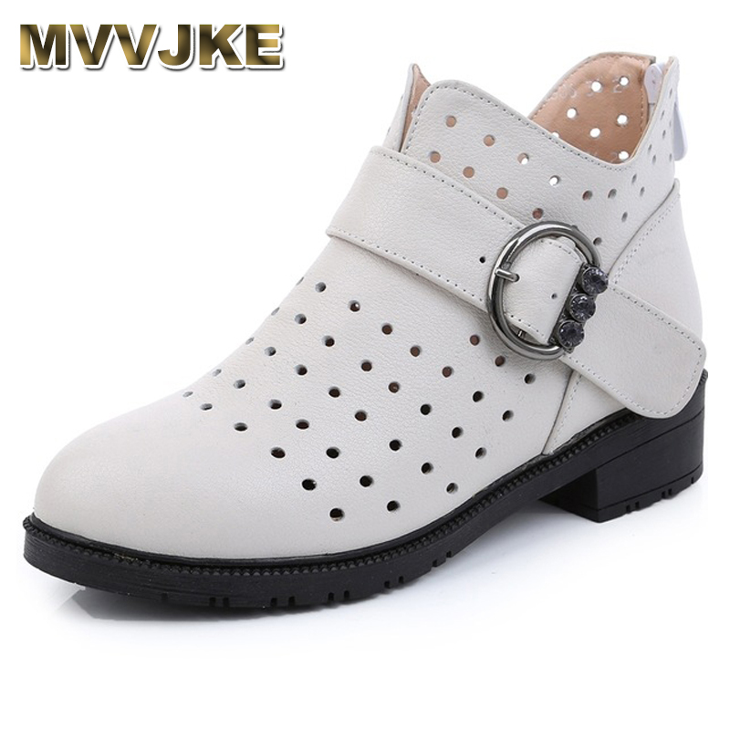 MVVJKE Spring Women Boots Genuine Leather Ankle Boots Hollow Summer Boots Zapatos Chaussures Femme Square High Heel Women Shoe mvvjke 2018 spring summer new bow genuine leather women boots hollow mesh ankle boots comfortable low heels fashion shoes