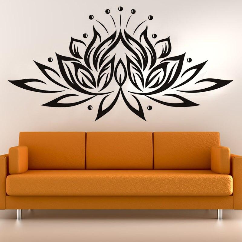 ჱVinyl Beautiful Lotus Flower Religiou DIY Wall Sticker For Living ...