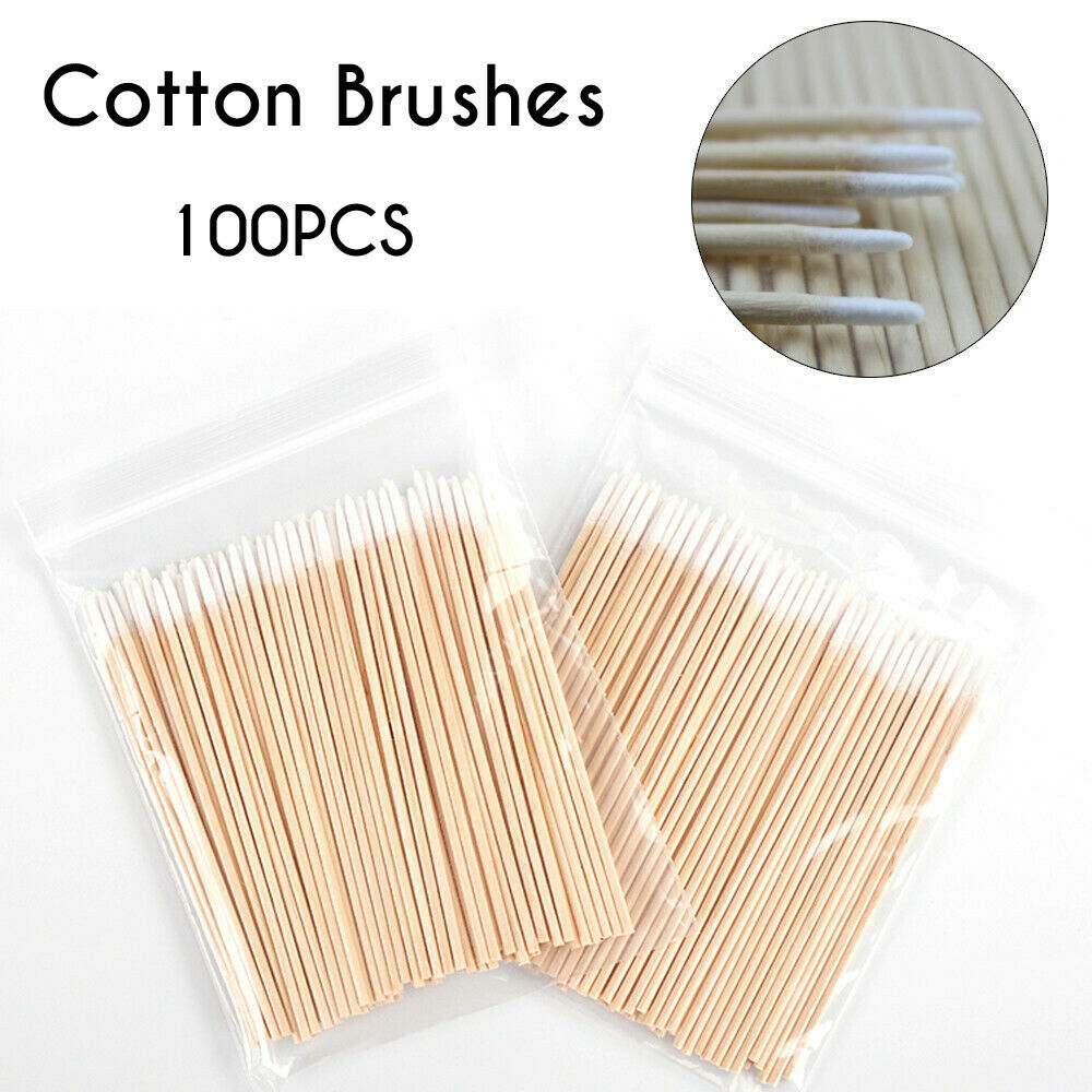100pcs Short Wood Handle Small Pointed Tip Head Cotton Swab Eyebrow Tattoo Beauty Makeup Tattoo Supplies Disposable Cotton Swab