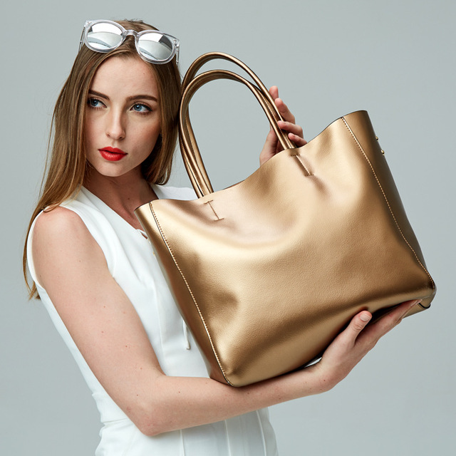 2017 New genuine leather bag women high quality large capacity handbag  elegant lady casual totes bronze silver shoulder bags sac 023b18db5260d
