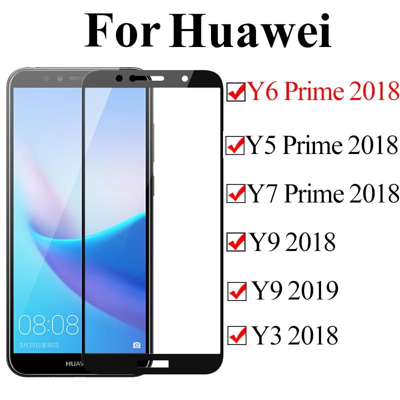 Protective Glass On For Huawei Y6 Y5 Y7 Prime y3 2018 Y9 2019 Tempered Glass Huawey Huavei Y 5 6 7 Prime 6y Protect Safety Flim(China)