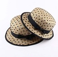 NEW kids girls children Natural wheat Straw Boater Hat with Black Bowtie mesh Accent