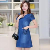 LIWA 2017 Summer Women Dress Blue Denim Loose Casual Dress Short Sleeve V Neck Pocket Vestidos