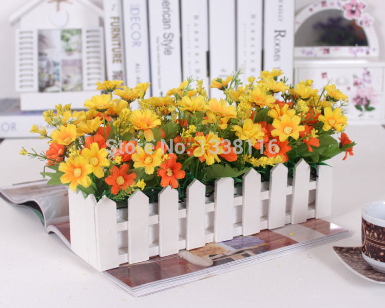 1 set 30cm Wooden fence vase + flowers Eugene flower rose and Daisy artificial flower set silk flowers for home desk decoration