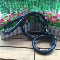 Hot Selling Medium Large Dog Real Leather Collar Leash Round Strong Leash Set For Dog Pet