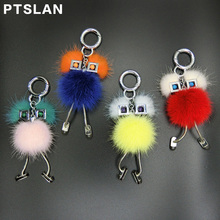 New Chicks Robot Real Mink Fur Witch shape Women Bag Bug Monster Bag Charm Genuine Pompom