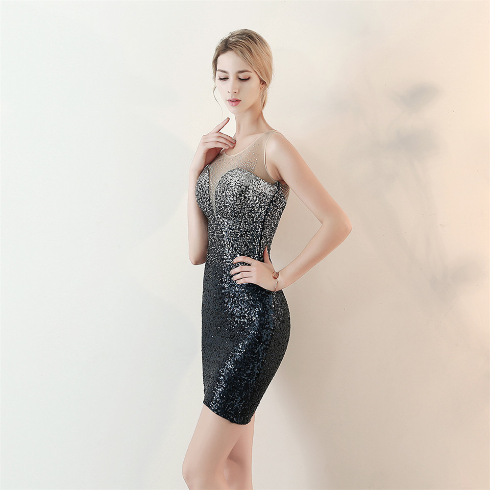 It's Yiiya Evening dress Sequined knee-length Straight Prom dresses Royal Crystal Sleeveless red blue Sexy Party gowns C170