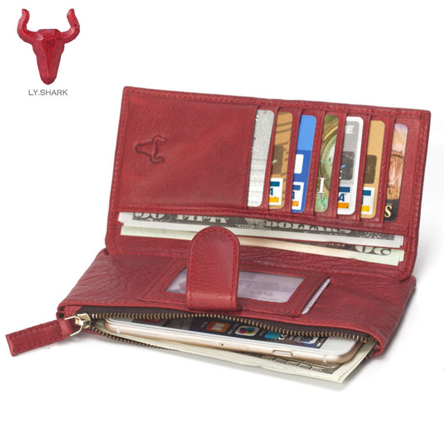 buy online 64e11 47df1 US $28.87  LY.SHARK women wallet Genuine Leather Wallet Women Coin Purse  Phone Clutch Brand design Lady Card Holder Money Bag Red 2017 new-in  Wallets ...