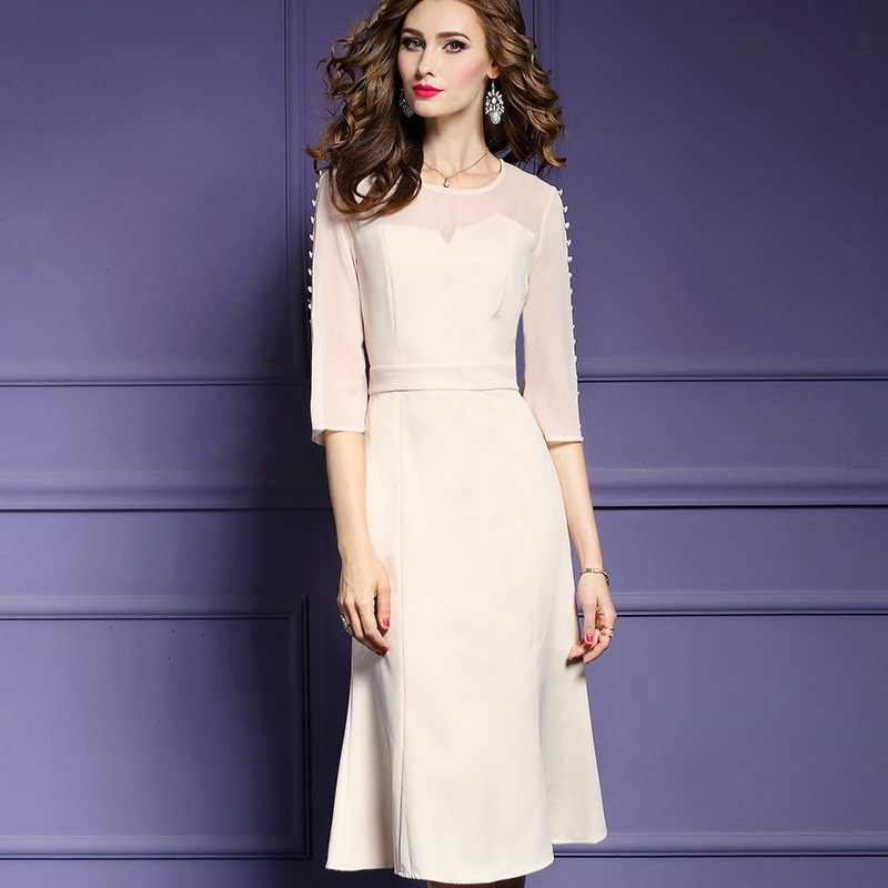 A-line Office lady dresses 2018 new Spring Autumn fashion Work O-Neck  dresses f2c922c96a5f