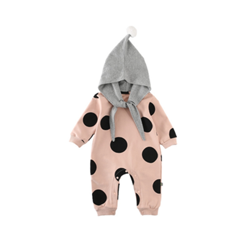 Newborn Fashion Infant   Rompers   Cotton Soft Hooded Boys Girls Clothing Long Sleeve Cute Kids Jumpsuit Polka Dot Costume