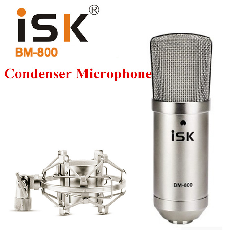 Original ISK BM-800 BM 800 Condenser Microphone Professional Computer Studio Recording Microphone Music Broadcast Microphones heat live broadcast sound card professional bm 700 condenser mic with webcam package karaoke microphone