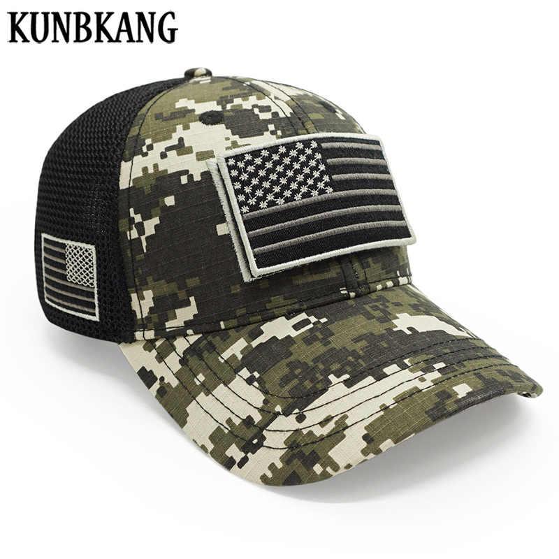 คุณภาพสูงผู้ชายกองทัพ Camouflage หมวกเบสบอล USA Flag Snapback Dad หมวกยุทธวิธี Camo หมวกฤดูร้อนหมวก Trucker Snapback กระดูก