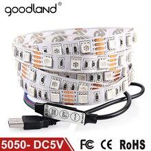 Goodland DC5V USB Cable Flexible LED luz de tira 5050 de Navidad led Franja de TELEVISIÓN de Fondo la Luz 3 teclas Remoto Mini 50 CM 1 M 2 M