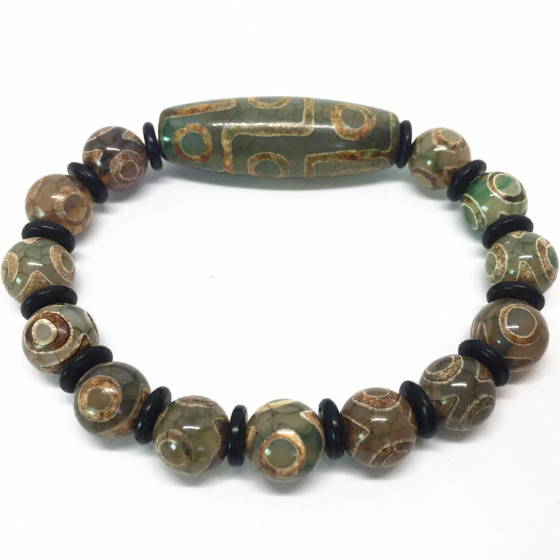 Green Natural Agate 9 Eyes Pattern Tibetan Dzi Beads Elastic Bracelet With Coconut Shell For Women Free Shipping