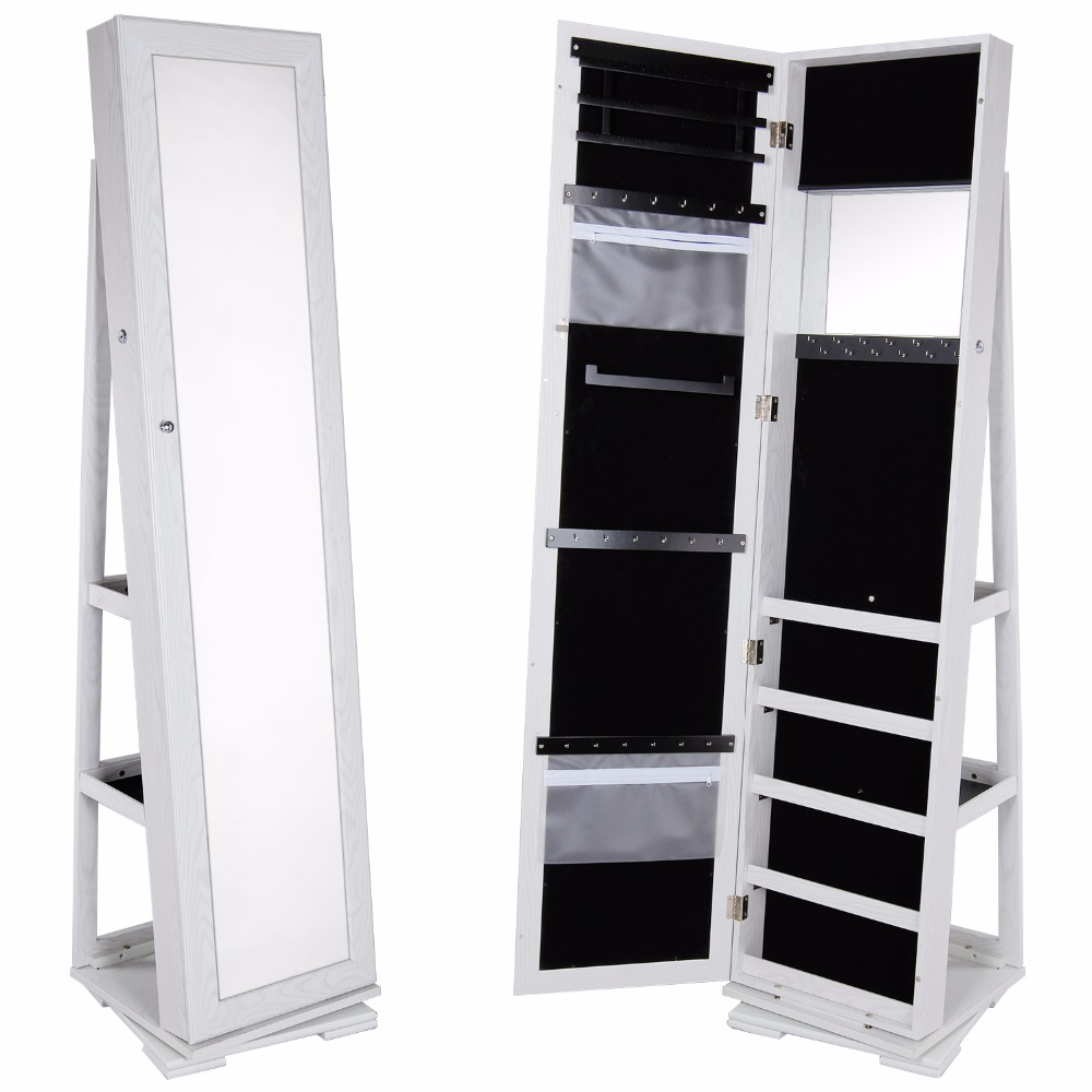 Full height mirrored cabinet another play on the rotating cabinet - Lifewit Spinning Lockable Full Length Mirrored Jewelry Cabinet Bedroom Armoire With Storage Large Makeup