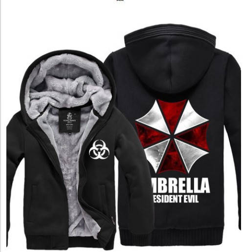 Resident Evil Umbrella Thicken Coat Jacket font b Hoodie b font Sweatshirt thermal fleece