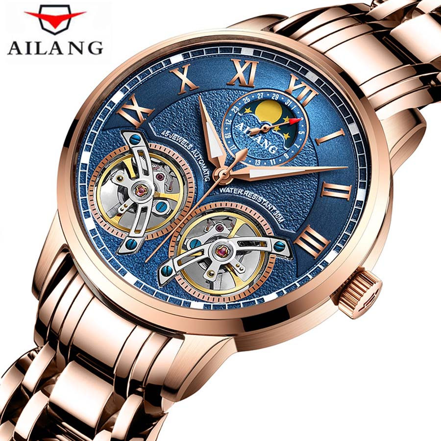 Fashion Luxury Brand Leather Double Tourbillon Watch Automatic Men Wristwatch Mechanical Steel Watches Male Relogio Masculino outad automatic mechanical watches classic hollow steel watch band luxury high quality fashion men male relogio masculino 2017