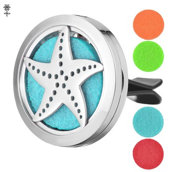 Aroma Essential Oil Diffuser Locket Starfish 30mm Stainless Steel with 5 Easy-Switch Oil Pads VA-458 image