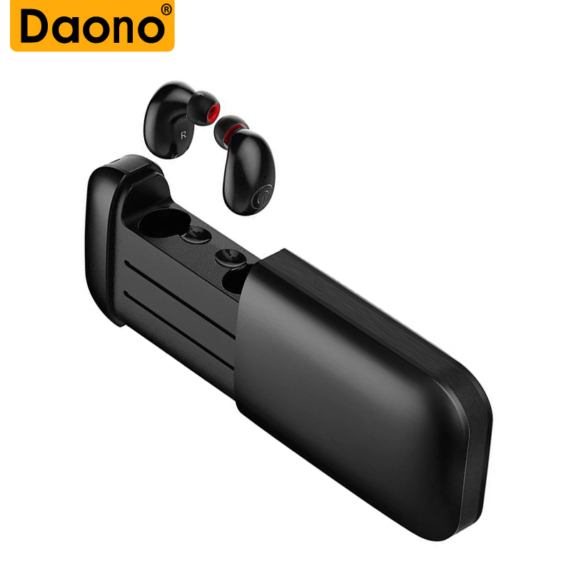 DAONO TWS B5 Mini Bluetooth Earphone Wireless Earbuds Stereo 2600mAh Power Bank for phone sport IPX5 waterproof with microphone 2018 new mini tws wireless bluetooth5 0 ipx5 waterproof and sweat proof sports earphone with led charger box for mobile phone