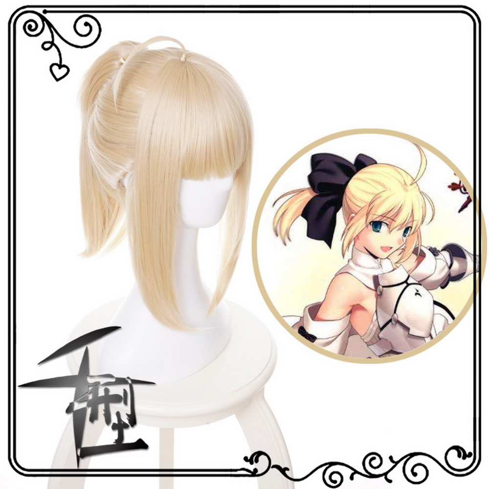 Fate Stay Night Saber Lily Blonde Cosplay Wig Anime Halloween Costume Fate Grand Order Synthetic Hair Wigs With Ponytail