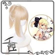 Fate stay night saber lily loira cosplay peruca anime traje de halloween fate grand order perucas de cabelo sintético com rabo de cavalo
