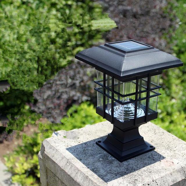 neue ankunft solar s ule lampe au en. Black Bedroom Furniture Sets. Home Design Ideas