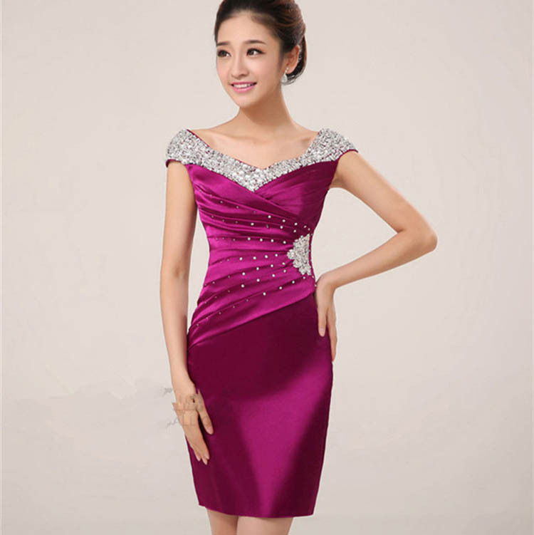 2018 New Fashion Elegant Bridesmaid Dresses Cap Sleeve Purple Party Dresses  Tiered Green Plus Size Custom Made Above Knee 134757200eeb
