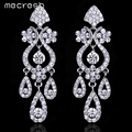 Mecresh Luxurious Crystal Bridal Hanging Earrings Silver Plated Leaf Long Pendientes Novia Wedding Engagement Jewelry EH001
