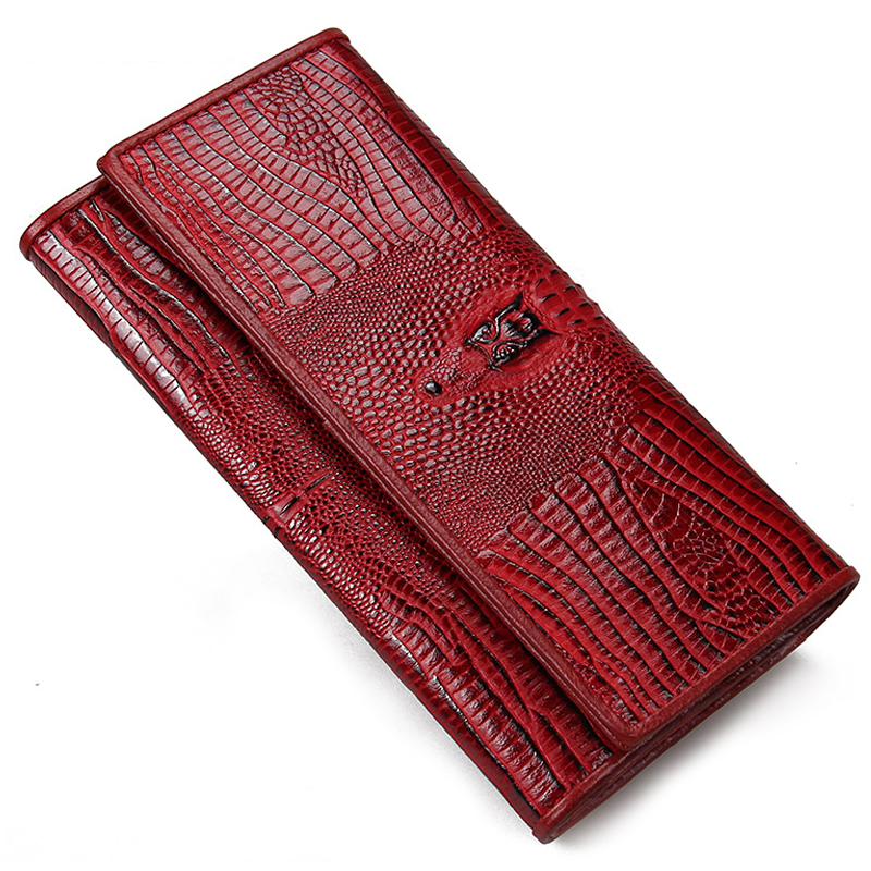 New Genuine Cow Leather Women Long Wallets Lady Purse Alligator Grain Elegant Fashion Female ID Credit Card Holder Clutch Wallet