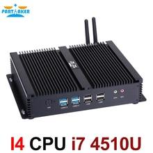 Dual LAN Мини-ПК Окна 10 DUAL NIC безвентиляторный Мини-ПК 6 * RS232 com Порты и разъёмы Intel Core i7 4510U Промышленные ПК С debian/Окна