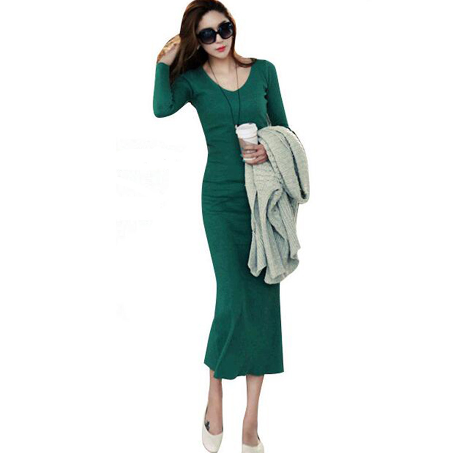 2016 Autumn/Winter Women Clothing 6 Colors Soild Veck Long ...