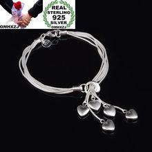 OMHXZJ,, модные вечерние браслеты для женщин и девушек, серебряный браслет с подвеской в виде звезды, 925 пробы, BR45