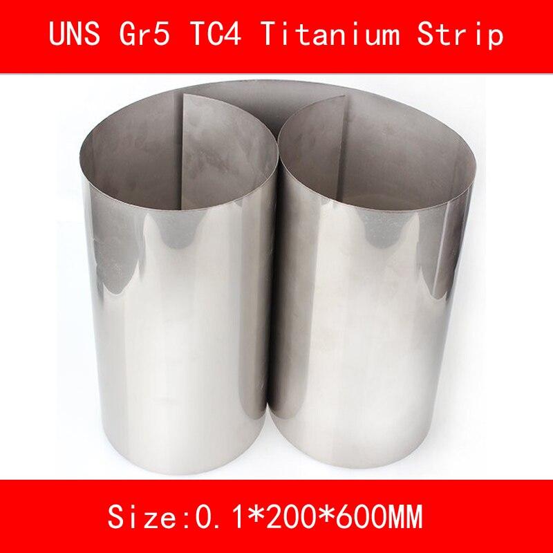 0.1x200x600mm Titanium Alloy Strip UNS Gr5 TC4 BT6 TAP6400 Titanium Ti Foil Thin Sheet for Industry lab DIY metal gr1 titanium metal foil grade1 titanium strip 0 07mm 303mm