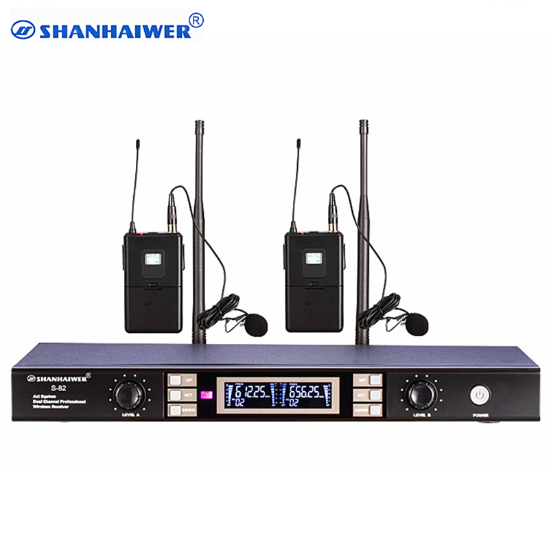 все цены на Newest Dual channel headset UHF Wireless Microphone high sensitivity stage performance megaphone 100 frequency points optional онлайн