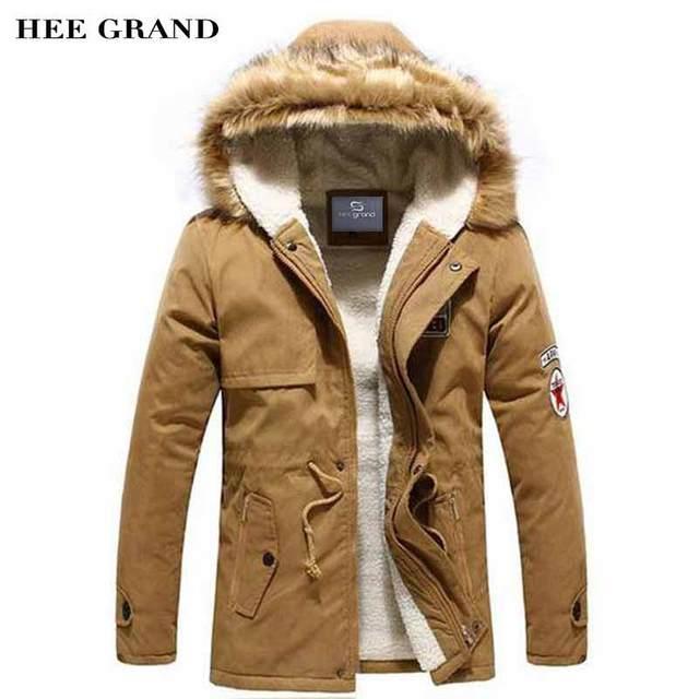 Hee grand hombres estilo moda parkas grueso regular longitud de la cremallera de invierno a prueba de viento caliente acolchada con abrigo sombrero de piel casuales mwm495